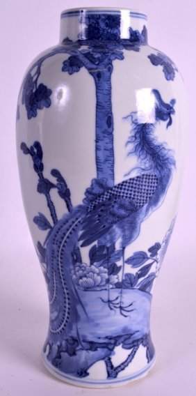 A Mid 19th Century Chinese Blue And White Vase Painted