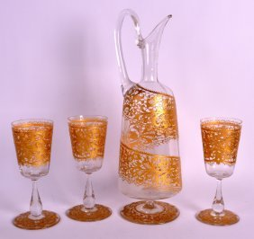 An Early 20th Century Bohemian Glass Decanter Together