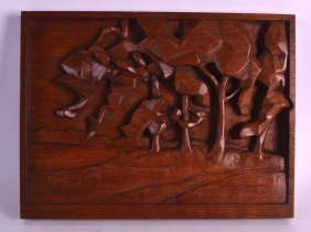 A Lovely 1940s Scottish Carved Wood Panel Presented To