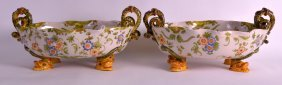 A Pair Of 19th Century Cantagalli Faience Twin Handled