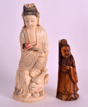 A Small 18th Century Chinese Stained Ivory Figure Of A