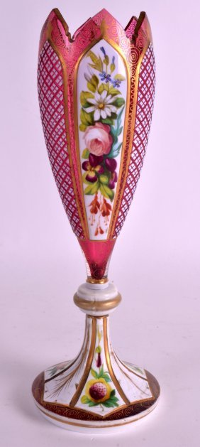 A 19th Century Bohemian Ruby Glass Vase Decorated With
