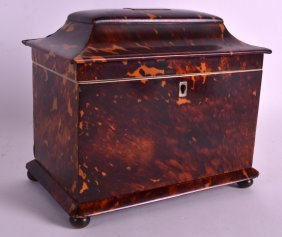 A Regency Carved Tortoiseshell Tea Caddy Of Rectangular