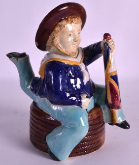 A Rare 19th Century Majolica Teapot And Cover Modelled