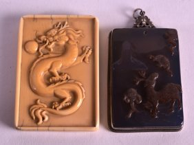A 19th Century Chinese Carved Ivory Tablet Together