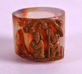 A Chinese Carved Agate Archers Ring 20th Century,
