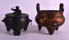 A Chinese Qing Dynasty Twin Handled Bronze Censer