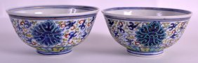 A Pair Of 19th Century Chinese Doucai Porcelain Bowls