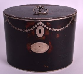 A Rare George Iii Imitation Tortoiseshell Tea Caddy Of