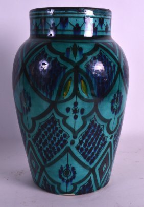 A 19th Century Iznik Pottery Vase Painted With Flowers.