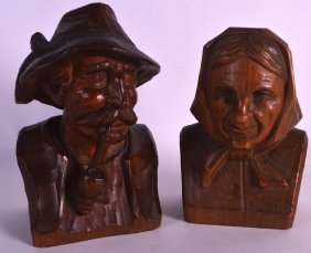 A Pair Of Early 20th Century Bavarian Carved Wood