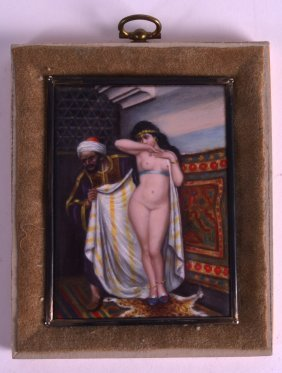 An Art Deco Silver Mounted Enamel Panel C1930 Painted
