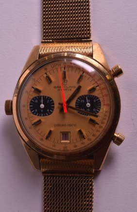 A Fine And Rare 18ct Yellow Gold Breitling Chrono-mate