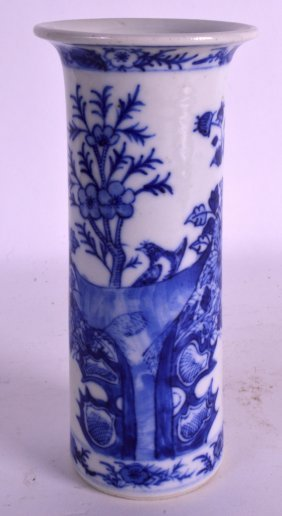 A Small 19th Century Chinese Blue And White Sleeve Vase
