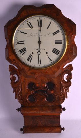A Large Victorian Walnut Hanging Wall Clock The Dial