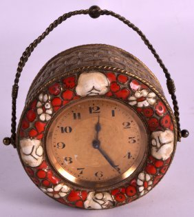 A Small Early 20th Century French Hanging Novelty Clock