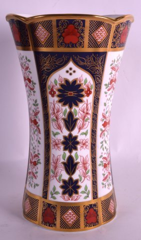 A Large Royal Crown Derby Old Imari Fluted Vase No.
