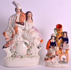 A 19th Century Staffordshire Figural Clock Group