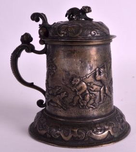 An Early 18th Century Continental Silver Stein Modelled