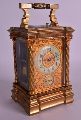 A Fine 19th Century French Brass Carriage Clock With