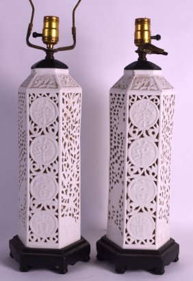 A Pair Of Chinese Blanc De Chine Vases Republic,