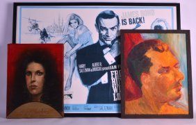 A Framed Reproduction James Bond Poster Together With