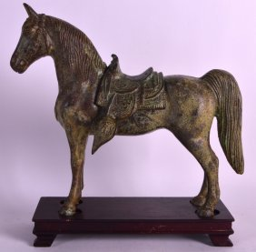 A Chinese Han Dynasty Style Bronze Figure Of A Horse