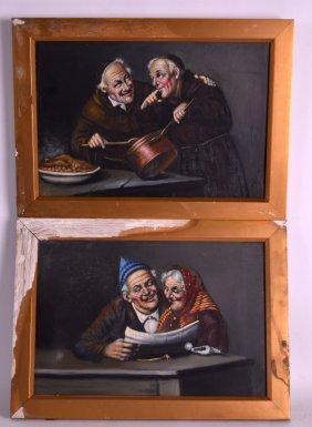 European School (19th Century) Oil On Canvas, 'monks &