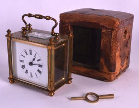A Small Early 20th Century French Brass Carriage Clock