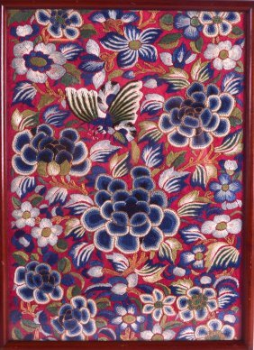 A Chinese Framed Red Silkwork Panel Qing/republic. Silk