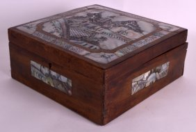 A Late 19th Century Chinese Mother Of Pearl Wooden Box