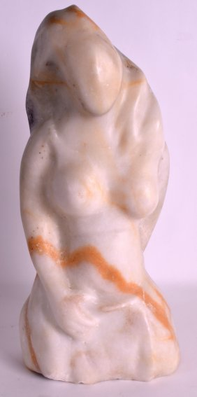 A 1950s Carved White Marble Figure Of A Female. 1ft