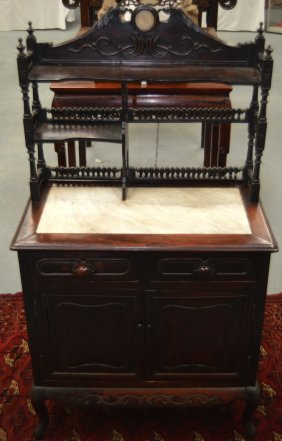 A 19th Century Chinese Carved Hardwood And Marble