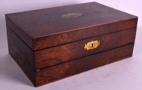 A Victorian Carved Rosewood Stationary Box With Brass
