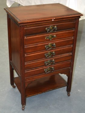 An Edwardian Mahogany Music Cabinet. 2ft 7ins High.