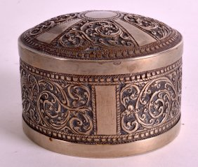 A Late 19th Century Indian White Metal Box And Cover