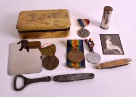 A Ww1 Princess Mary Christmas Tin With Some Contents,