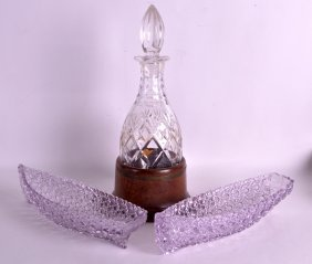 An Edwardian Crystal Decanter And Stopper Together With