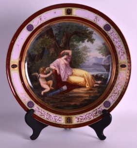 A Large 19th Century Vienna Porcelain Plate Painted