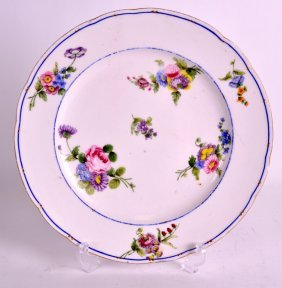 An 18th Century Sevres Porcelain Plate Painted With