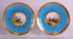 A Good Pair Of Minton Porcelain Cabinet Plates Painted