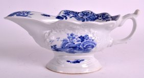 An 18th Century Worcester Blue And White Sauceboat