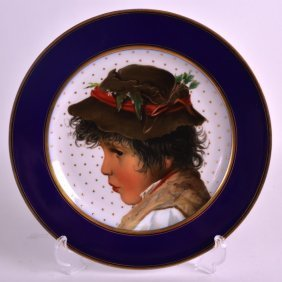 A Late 19th Century Continental Cabinet Plate Painted
