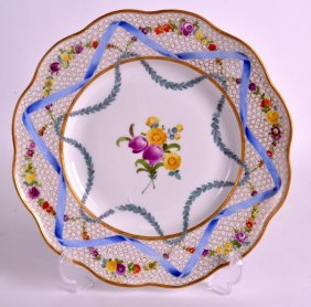 A Late 18th Century Meissen Porcelain Plate Painted