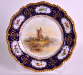 A Royal Worcester Porcelain Cabinet Plate Painted With