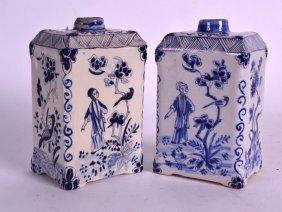 A Pair Of 19th Century Dutch Blue And White Tea Caddies