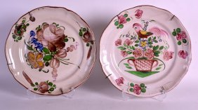 Two 18th/19th Century Tin Glazed Floral Plates. 11.5ins