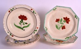 A Pair Of 18th/19th Century Creamware Octagonal Plates