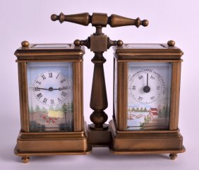 A Small French Brass Carriage Twin Clock With