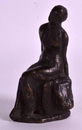 French School (19th Century) A Bronze Study Of A Seated